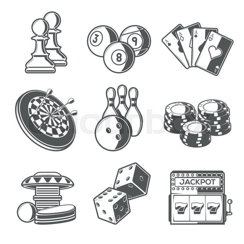 Casino Sport And Leisure Games Icons Stock Vector
