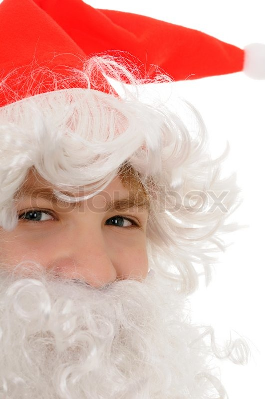 Stock image of 'Young santa with beard isolated on white background'