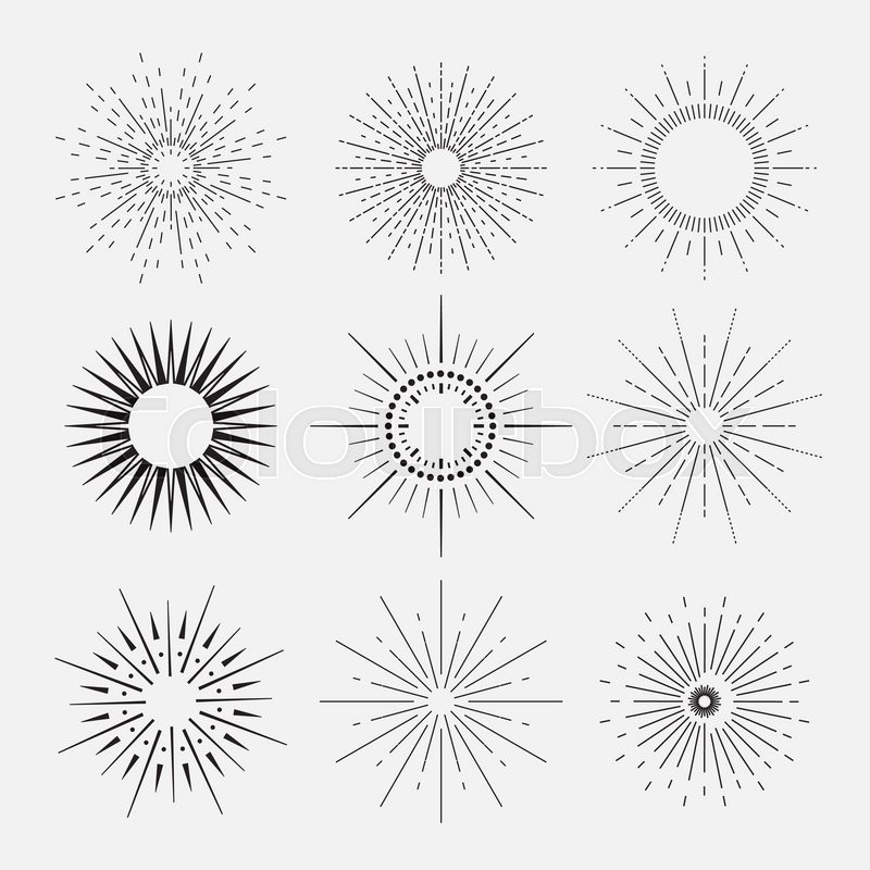 9 Art Deco Vintage Sunbursts Collection With Geometric Shape, Light Ray.  Set Of Vintage Sunbursts In Different Shapes. Vector | Stock Vector |  Colourbox