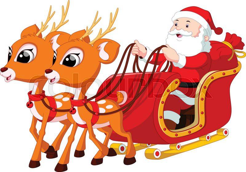 santa claus riding a sleigh pulled by reindeer stock sleigh clip art free clipart sleigh ride