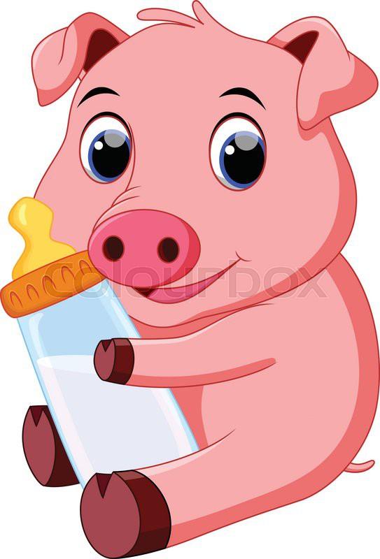 Cute baby pig cartoon stock vector colourbox - Pig wallpaper cartoon pig ...