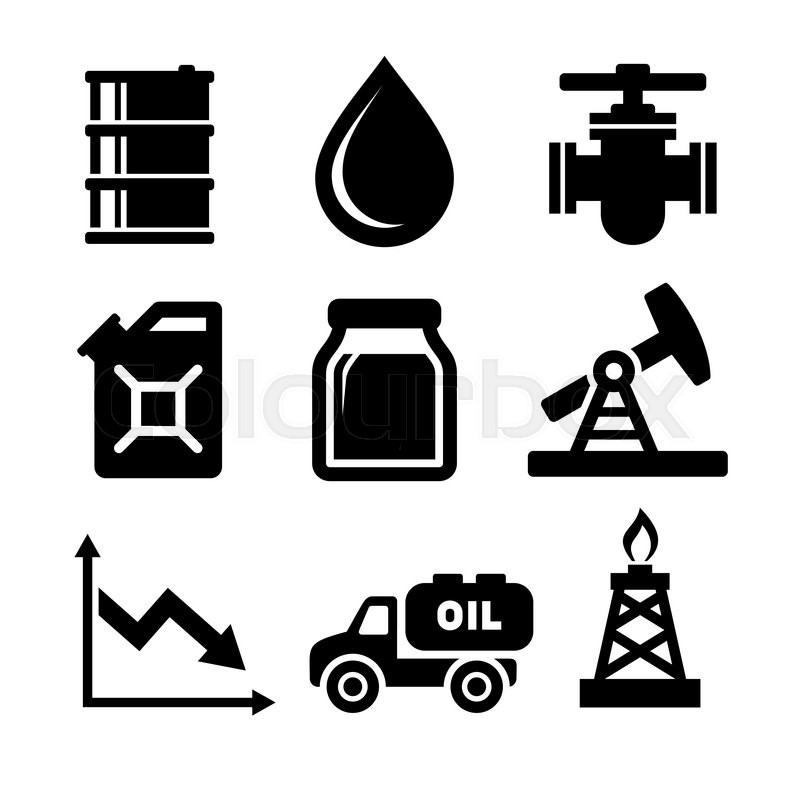 Oil Icons Set Vector Illustration On White Background