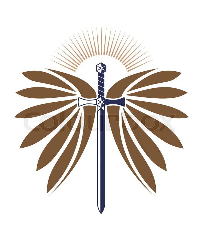 military design with sword wings sunburst for logo