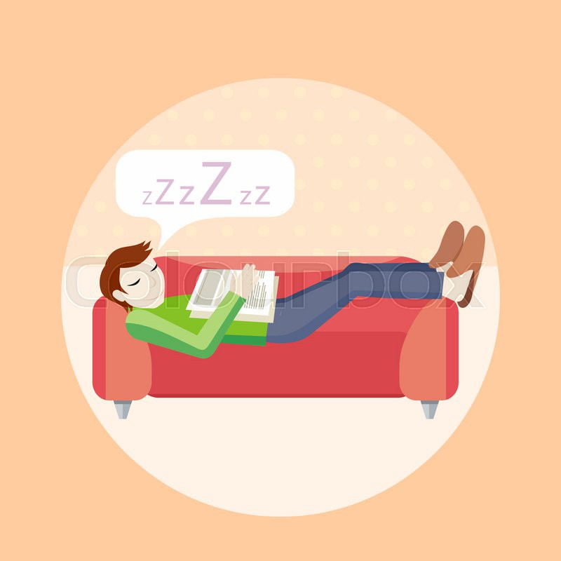Man Sleeping On Sofa Household Stock Vector Colourbox