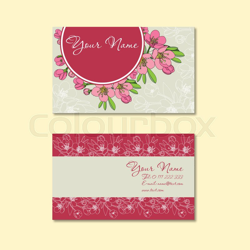 Business card template, floral pattern vector design editable ...