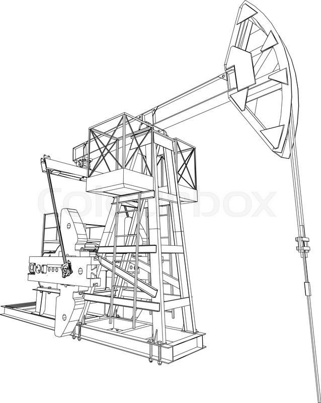 Oil Pump Jack Detailed Vector