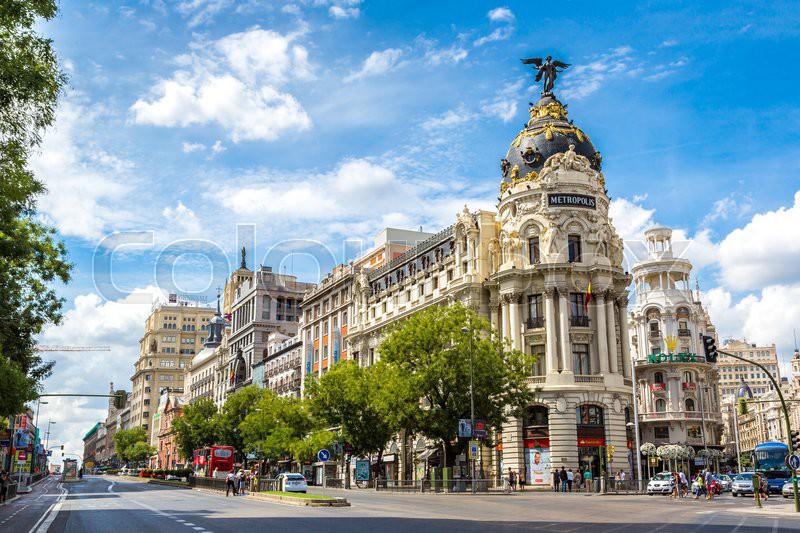 MADRID, SPAIN - JULY 11: Metropolis hotel in Madrid in a beautiful summer day on July 11, 2014 in Madrid, Spain, stock photo