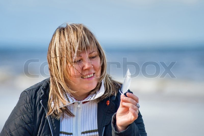 Portrait Of Mature Chubby Woman Relaxing At The Baltic Sea -4845