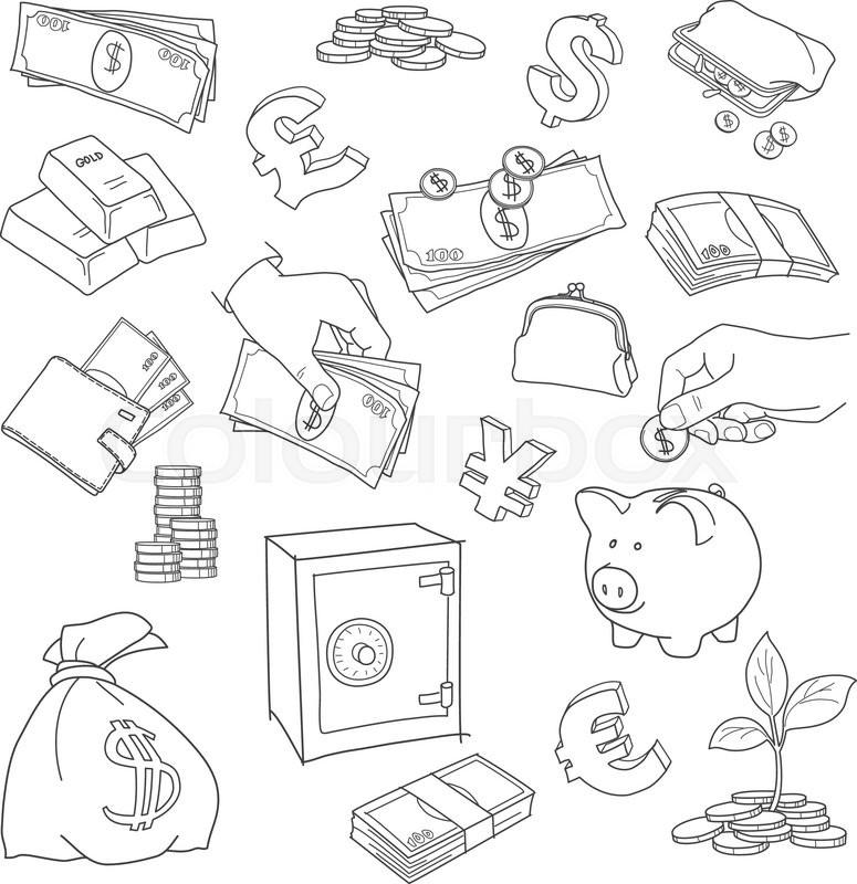 Set Of Doodle Money Symbol Vector Sketch Coins Stack Treasure