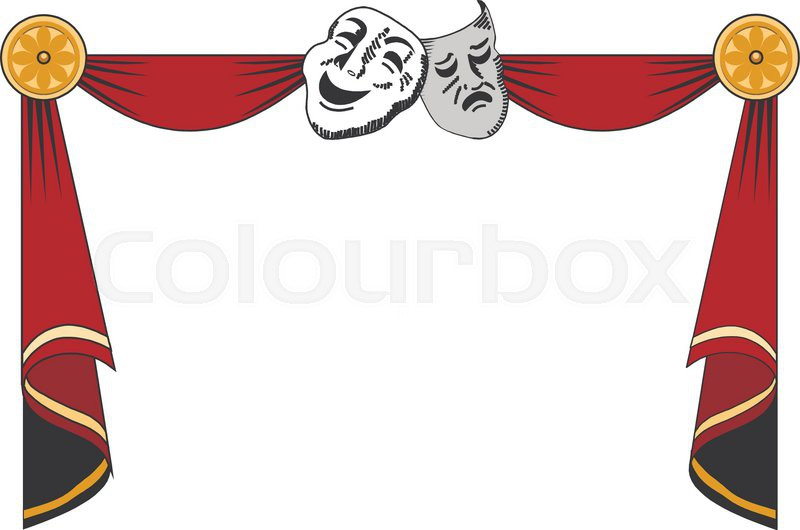 theatrical mask on a red background mesh clipping mask comedy drama masks clipart Drama Clip Art Black and White