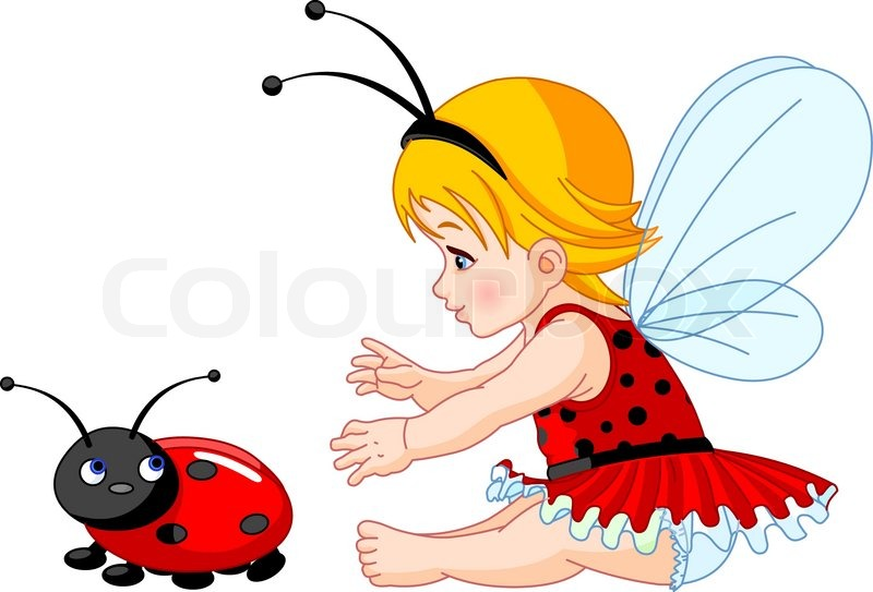 Cute Baby Fairies: The Little Fairy Girl Tries To Catch A Ladybird