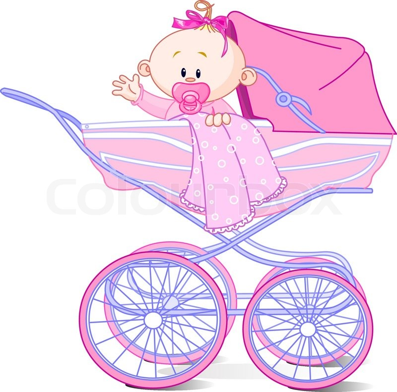 Baby girl sitting in carriage and waiving hello | Vector | Colourbox: colourbox.com/vector/baby-girl-in-carriage-vector-1296169