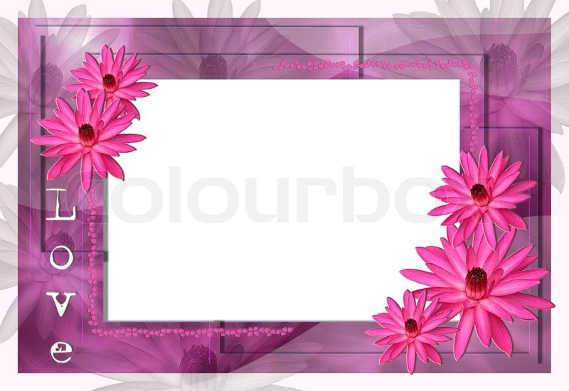 Lavender Lotus Border Glass Frame For Stock Photo Colourbox