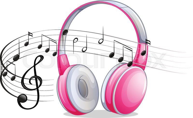 Headphones Music Notes: Pink Headphone With Music Notes