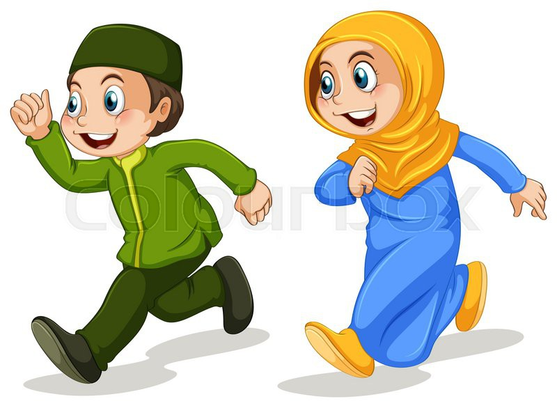 Boy And Girl Muslim Running Stock Vector Colourbox