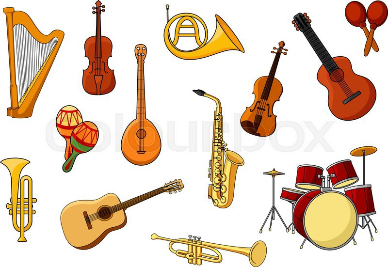 cartoon set of colored musical instrument icons with a harp guitar