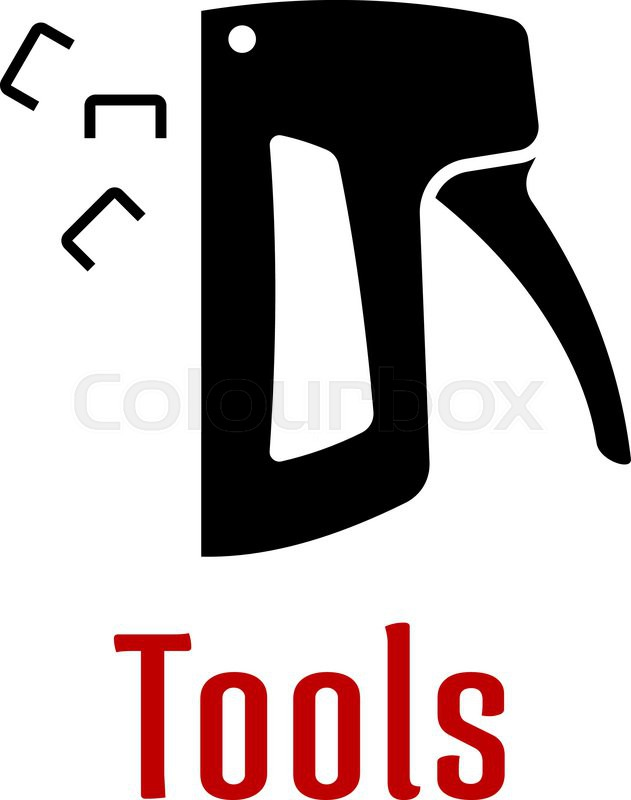 Black Silhouette Of Staple Gun Tool With Separate Staples And Text