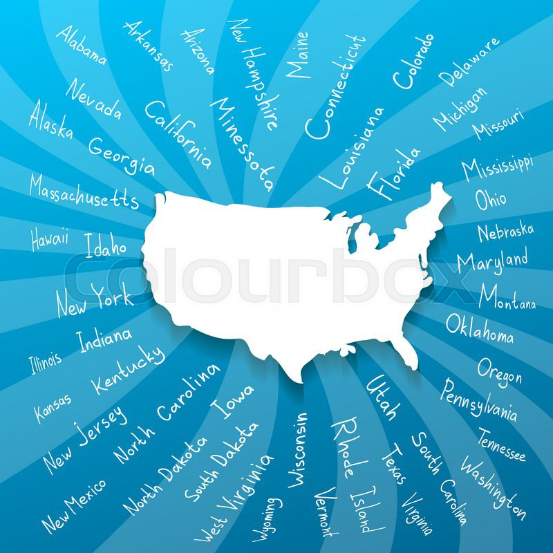 Hand drawn USA map with handwritten ...   Stock Vector   Colourbox