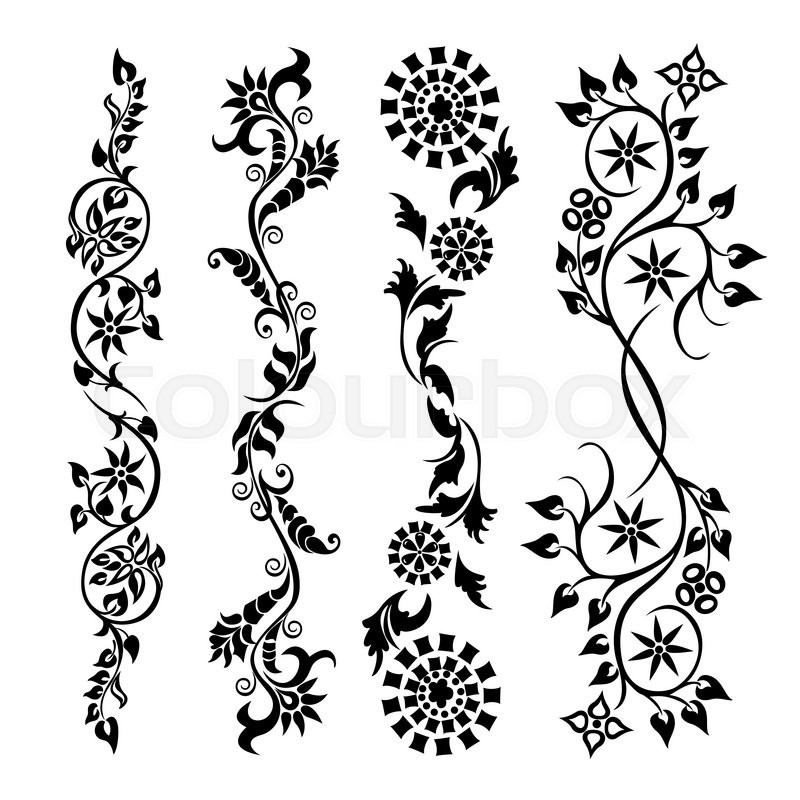 set swirling decorative flower ornament motif pattern. Black Bedroom Furniture Sets. Home Design Ideas