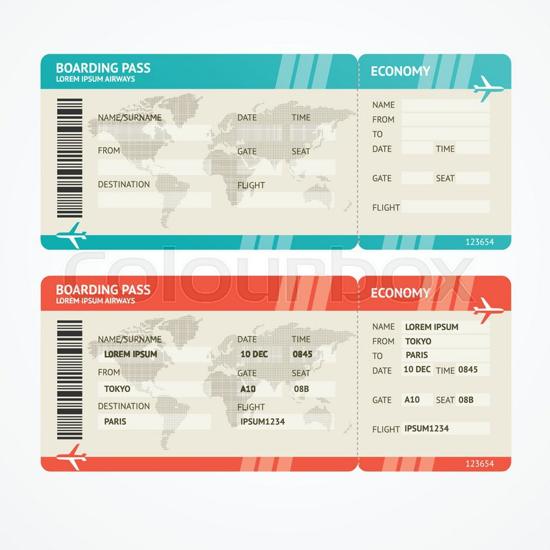 Vector Illustration Airplane Tickets Travel Concept
