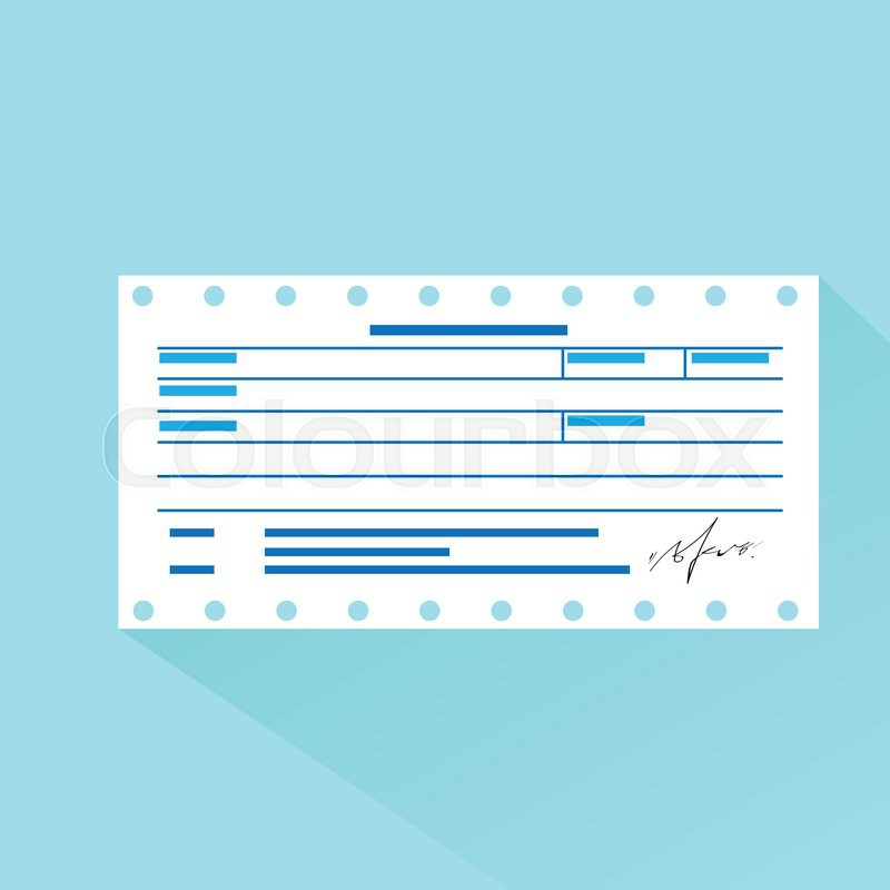 Financial Bill Document, Invoice Order Payment Check Flat Design Vector  Illustration | Stock Vector | Colourbox  Money Receipt Design