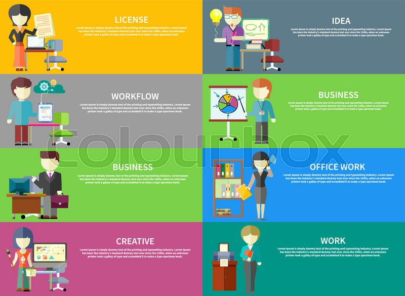 Set of peoples office professions on banners. Concepts of license, idea, workflow, business, office work, creative, work. Concept in flat design style, vector
