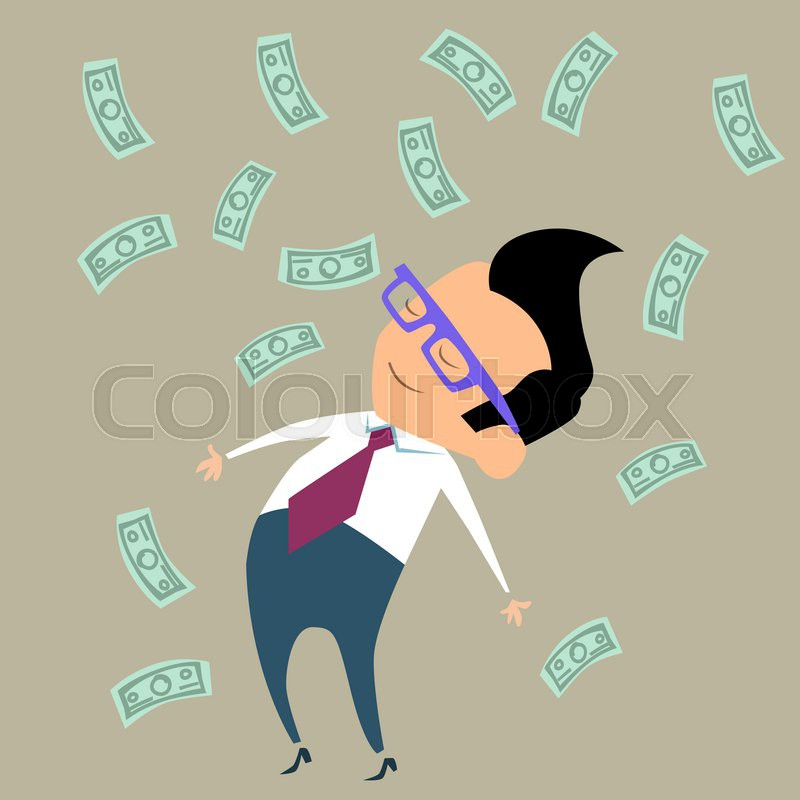 Office worker businessman happy standing in the midst of falling money, stock photo
