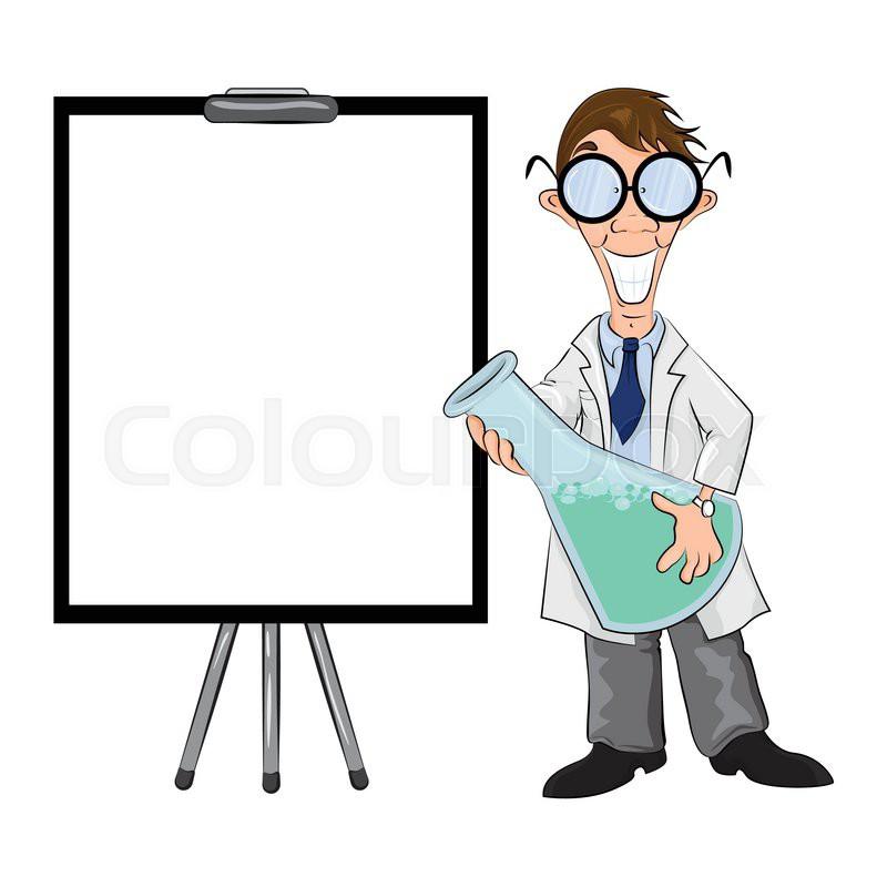 cartoon scientist standing next to flipchart and making presentation