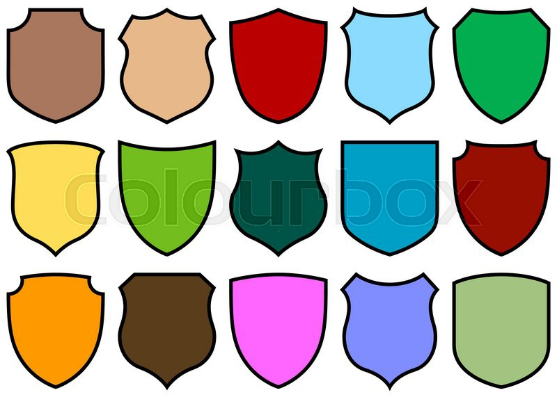 Simple Shield Design Set With Various Shapes