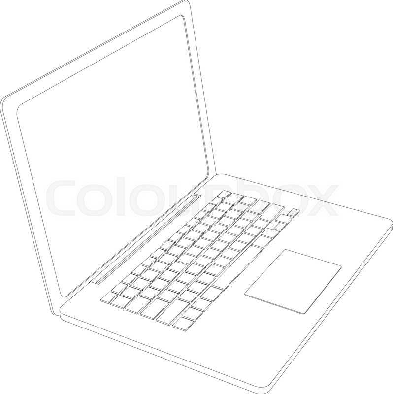 Drawing of wire-frame open laptop. Perspective view. Vector ...
