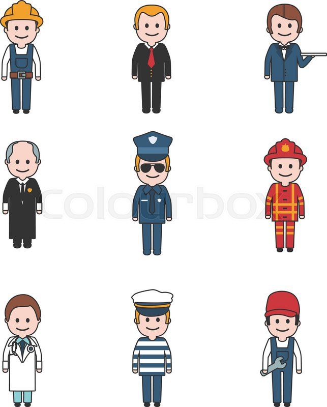Cartoon Characters Clothes : Profession people and avatars collection cartoon