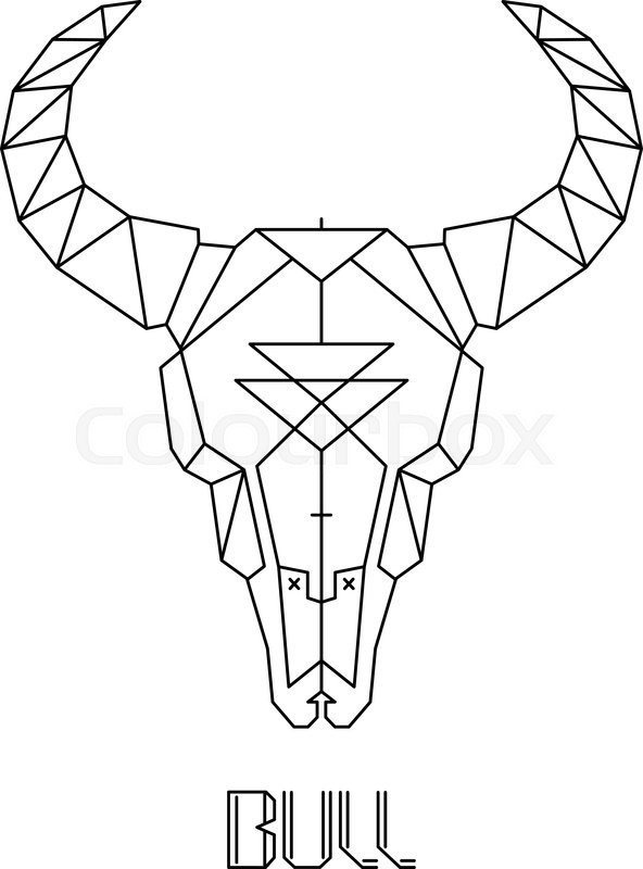 Bull skull cow skull vector print on tshirt Stock