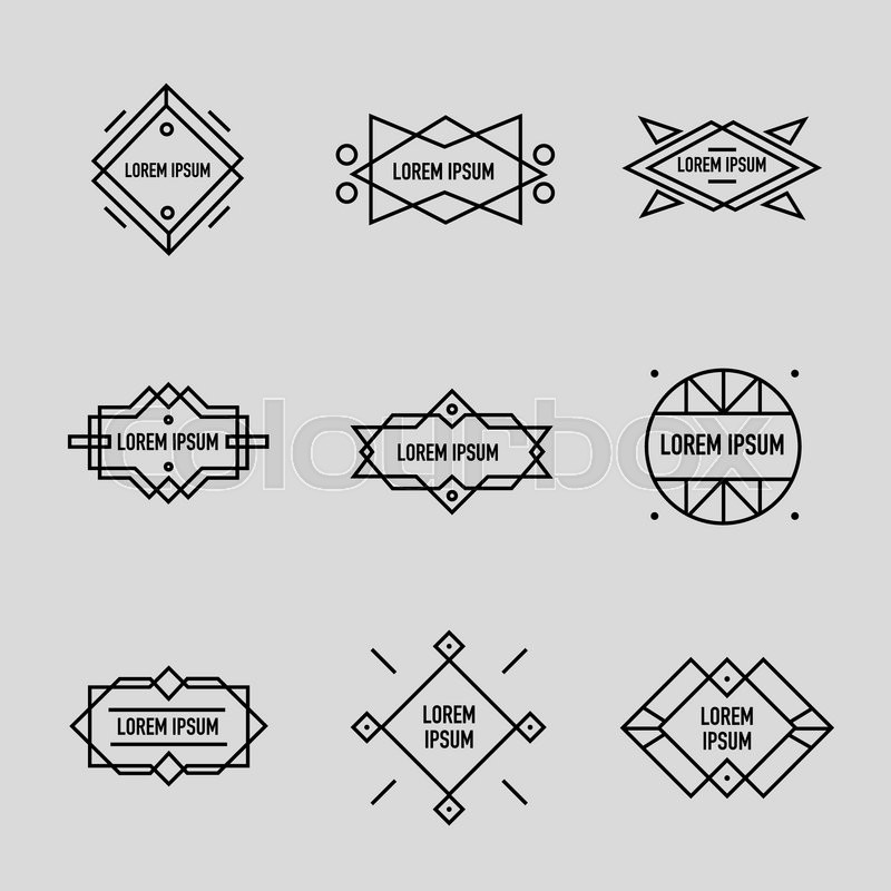 Vector set of linear retro badges, labels, logo templates and frames ...
