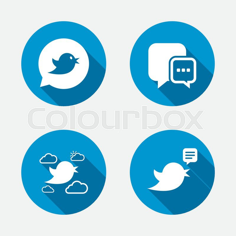 Birds icons. Social media speech bubble. Chat bubble with three dots symbol. Circle concept web buttons. Vector, vector