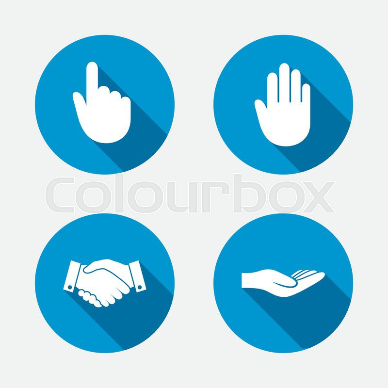 Hand icons. Handshake successful business symbol. Click here press sign. Human helping donation hand. Circle concept web buttons. Vector, vector