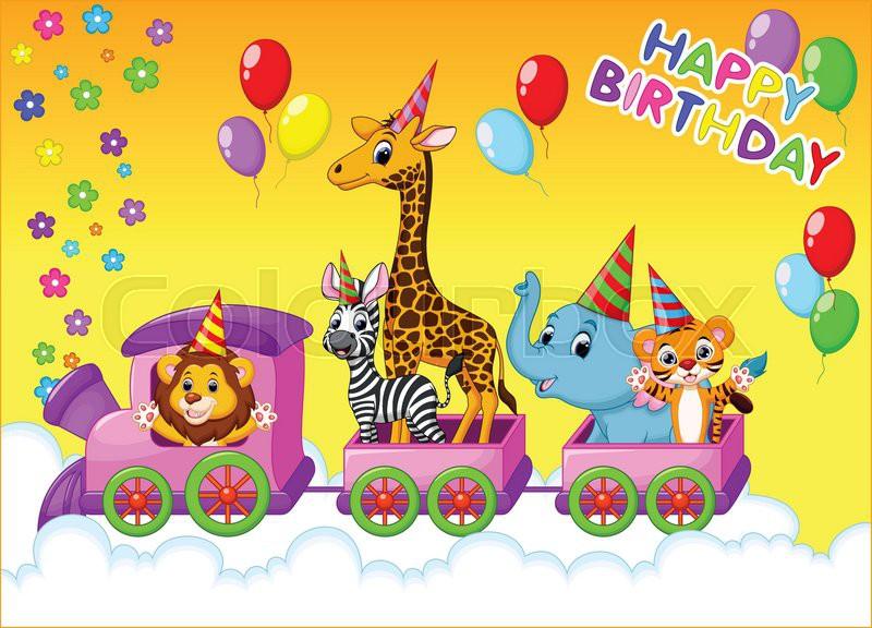 Birthday Card With Animal On Train Stock Vector Colourbox