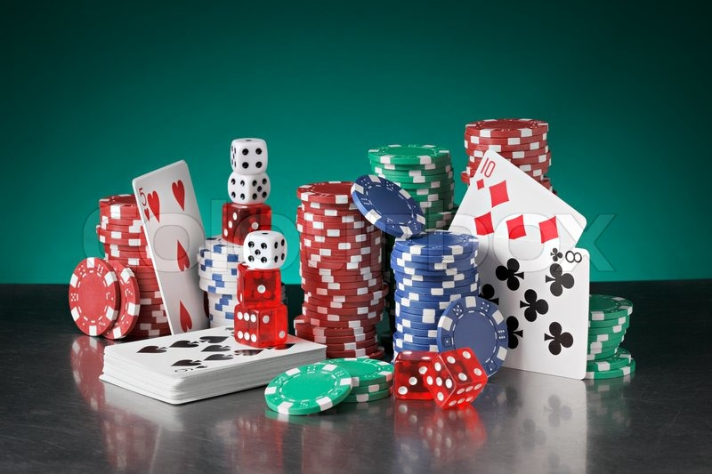 Still life with poker chips, playing ... | Stock image | Colourbox