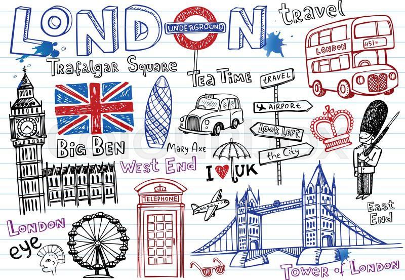 London Tegning Turist Vektor Colourbox