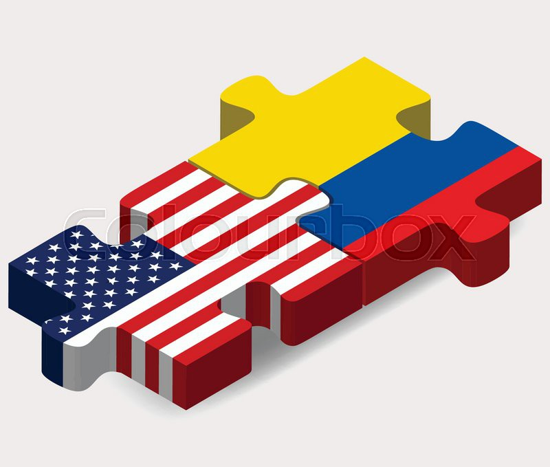 Vector Image USA And Ecuador Flags In Puzzle Isolated On White - Ecuador flags