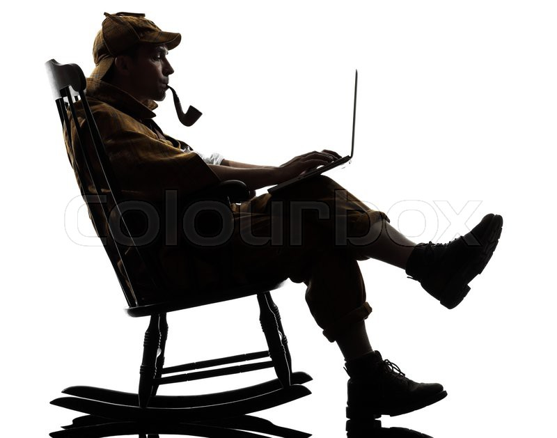 rocking chair silhouette. Plain Silhouette Sherlock Holmes With Computer Laptop Silhouette Sitting In Rocking Chair  Studio On White Background  Stock Photo Colourbox Inside Rocking Chair Silhouette