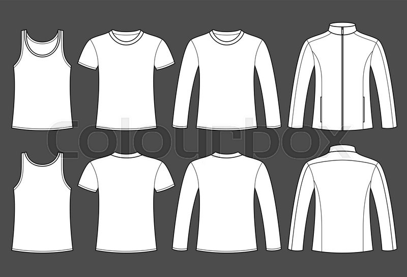 Singlet, T-shirt, Long-sleeved T-shirt and Jacket template - front ...