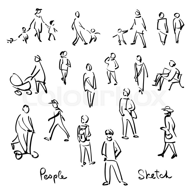 Line Drawing Person : Illustration isoleret glad stock vektor colourbox