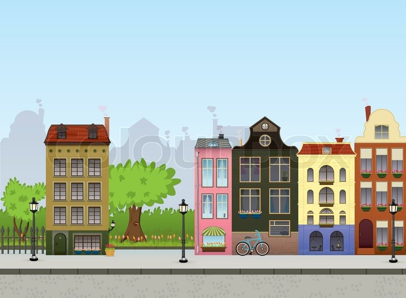 Town Background Street Stock Vector Colourbox