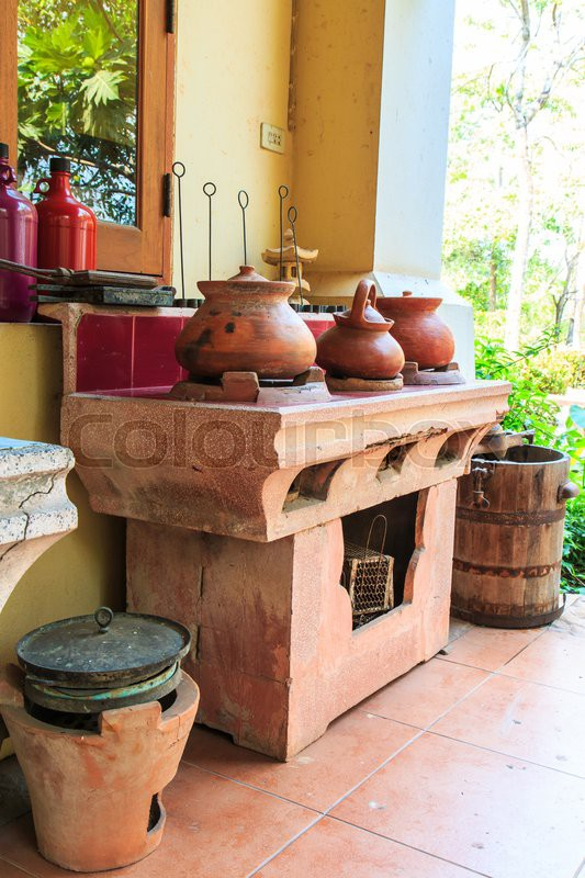 Old kitchen ancient kitchen Old stove, stock photo