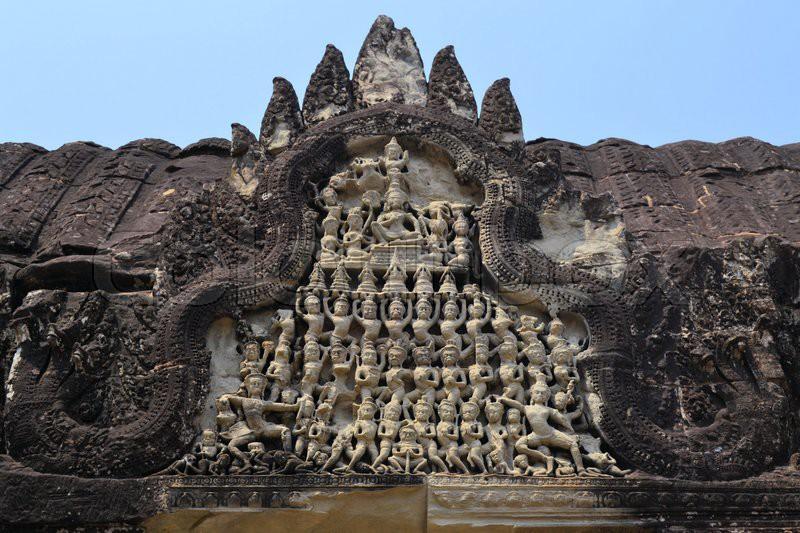 Apsara dancers stone carving khmer relief at angkor wat