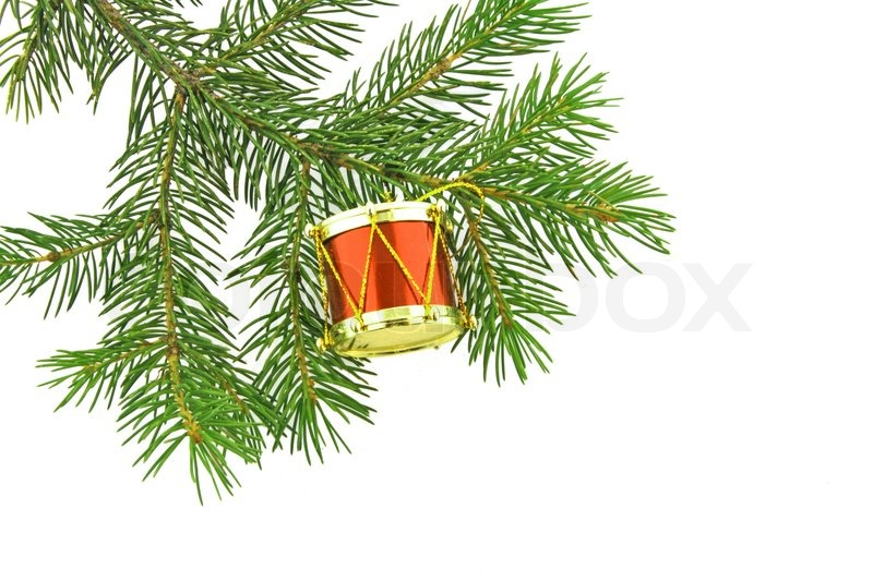 Christmas tree fir with sphere still life stock photo