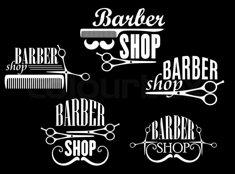 Adesivo De Parede Com Led ~ Vintage barber shop or salon emblems and logos including