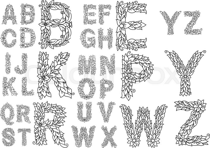 Alphabet Capital Letters With Foliage ...