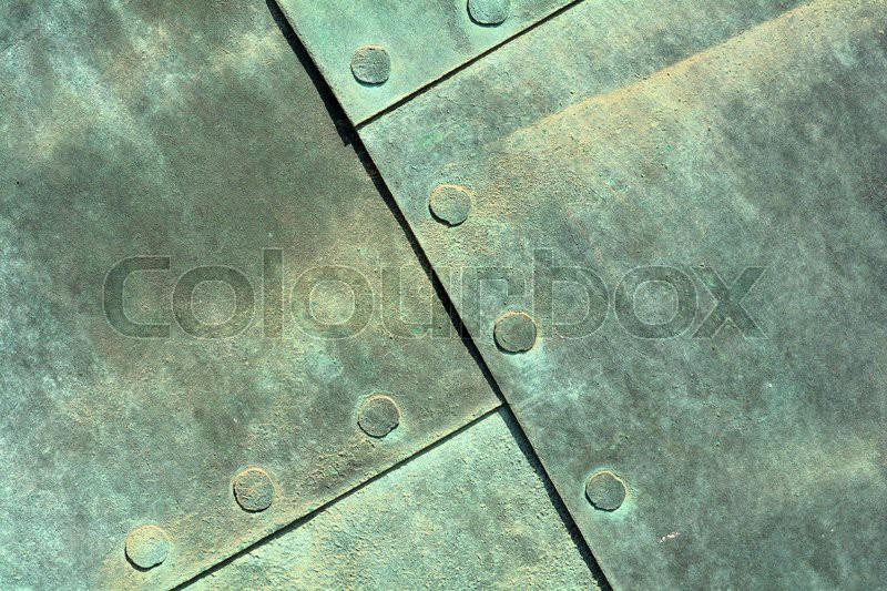 Close up of weathered copper sheet at a ...   Stock Photo ...