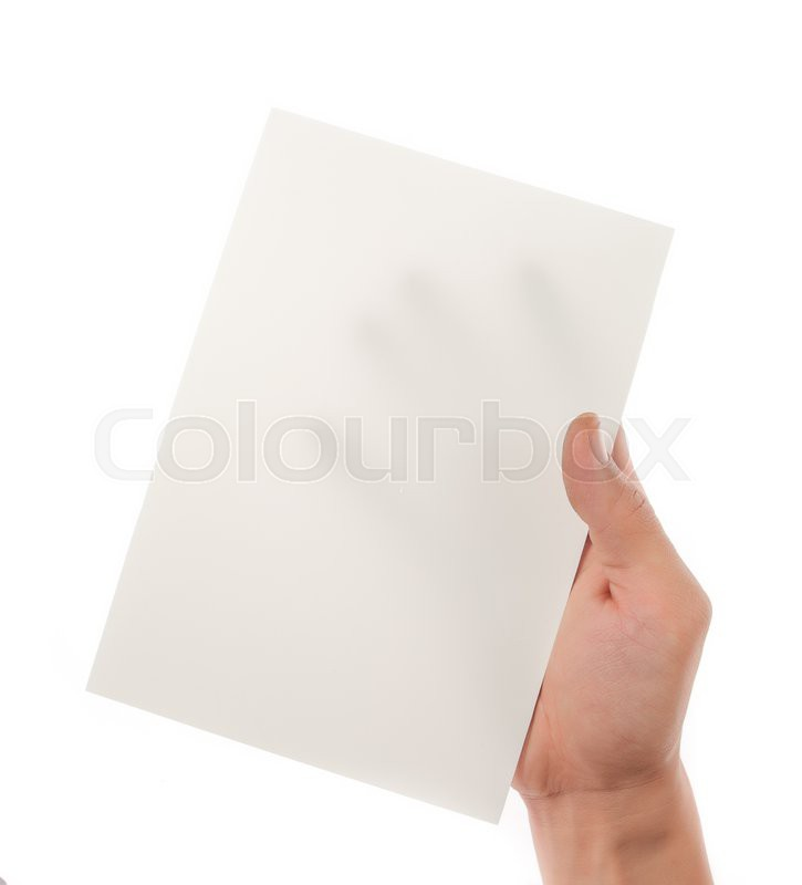 Stock image of 'Hand holding paper isolated on white'